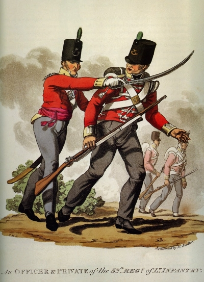 British 52nd light infantry regiment, early 1800s 52nd Regiment of Foot by J.C. Stadler.jpg