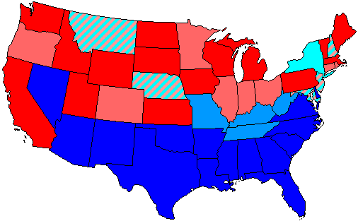 House seats by party holding plurality in state     80+% Democratic    80+% Republican     60+% to 80% Democratic    60+% to 80% Republican     Up to 60% Democratic    Up to 60% Republican   Stripes: 50/50 split
