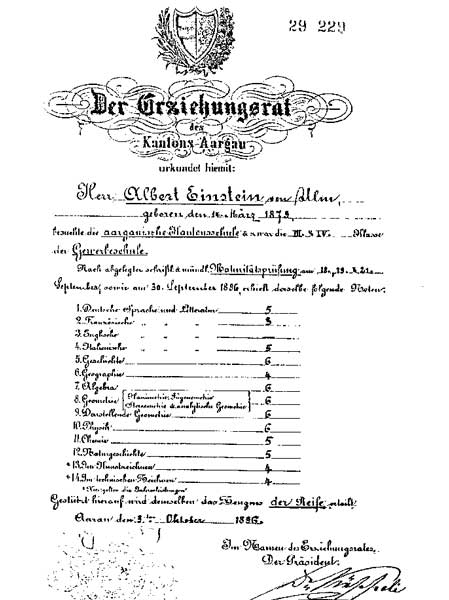 Albert Einstein's exam of maturity grades (bw)