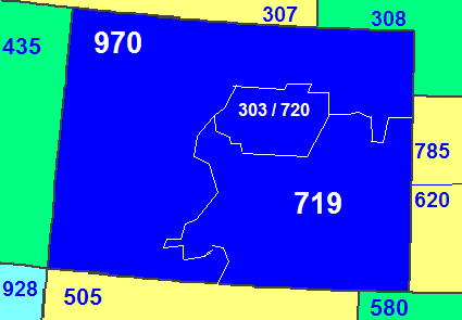 Map of Colorado area codes in blue (with border states)