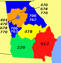 Georgia Area Codes By Prof611 (Own work) [CC BY-SA 3.0 (https://creativecommons.org/licenses/by-sa/3.0)], via Wikimedia Commons