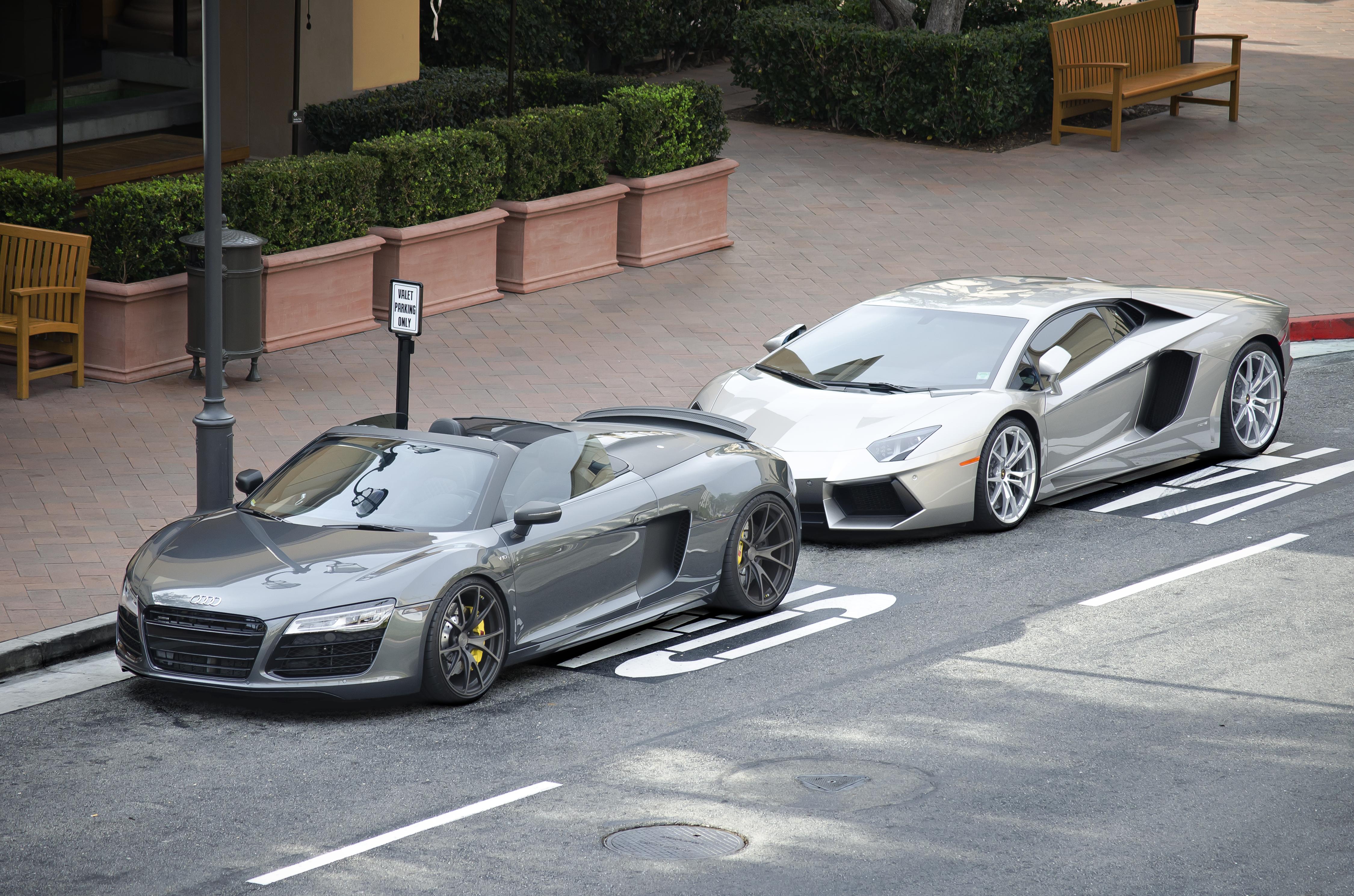 Lamborghini Aventador Spyder >> File:Audi R8 Spyder V10 and Lamborghini Aventador (12230267074).jpg