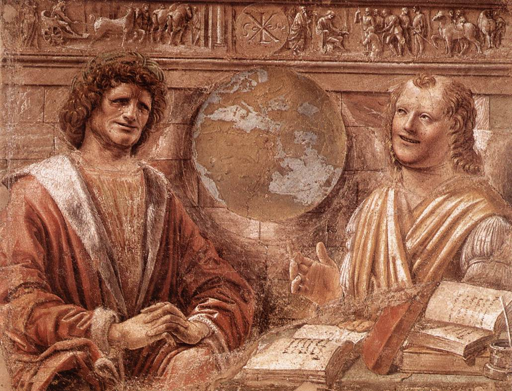 """Crying Heraclitus and Democritus laughing."" Fresco of Donato Bramante."