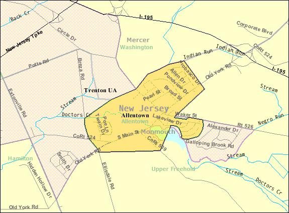 Census Bureau map of Allentown, New Jersey