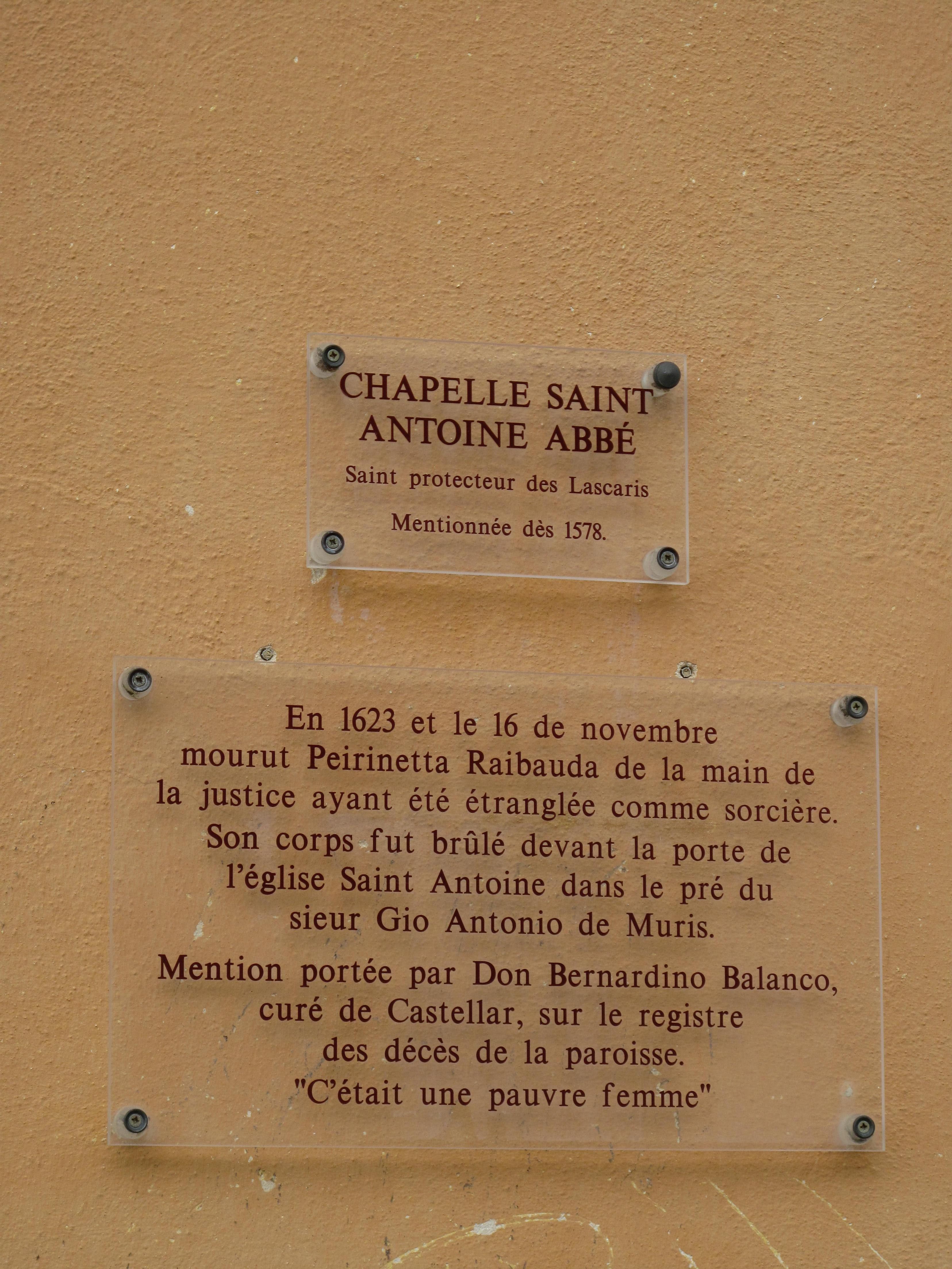 Edifices religieux - Page 9 Chapelle_Saint-Antoine_de_Castellar_%28plaque%29