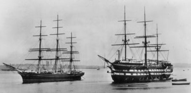 Cutty Sark and HMS Worcester as training ships, 1938 CuttySarkAndHMSWorcester.jpg