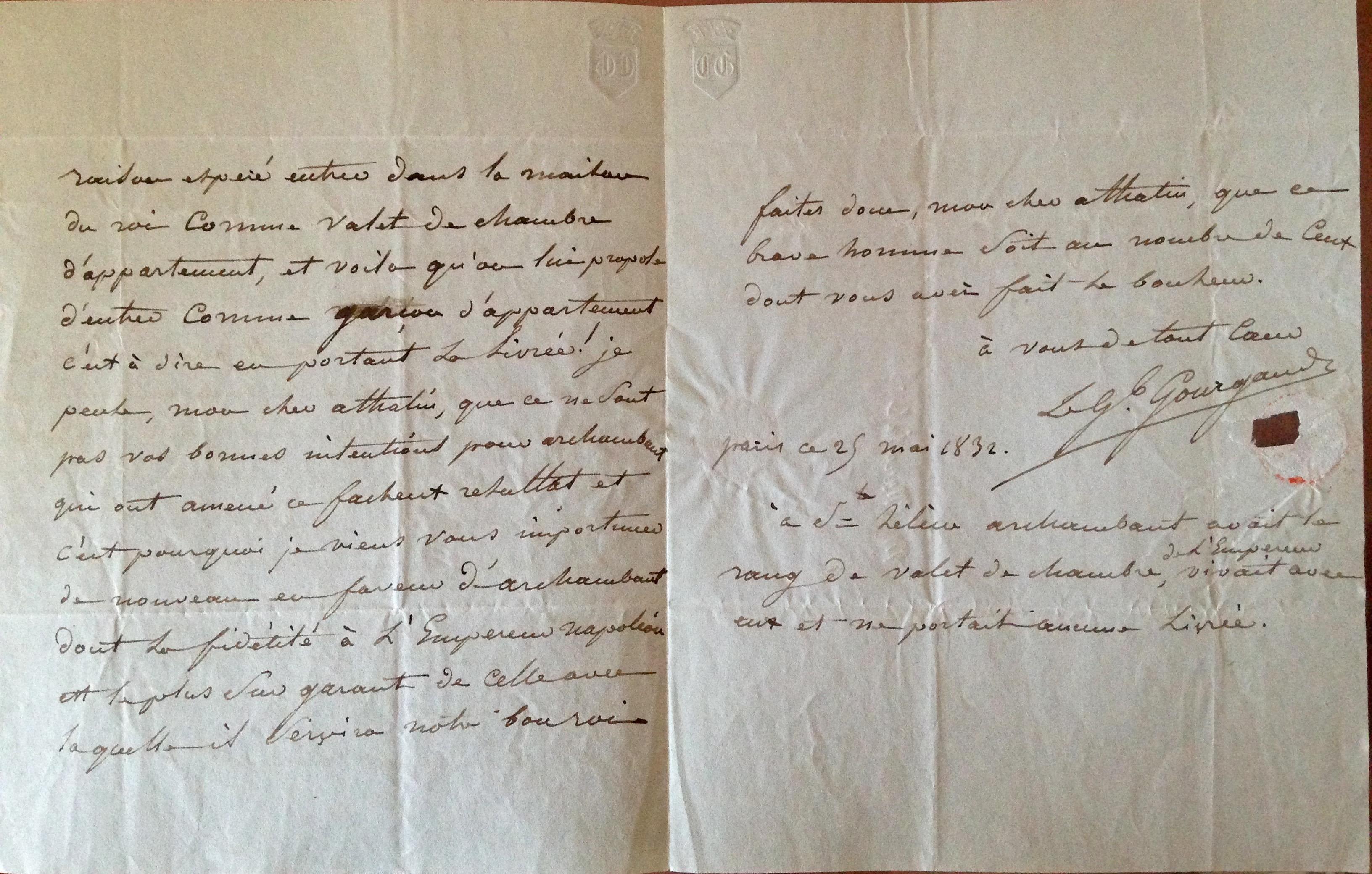 Filedétail Recto Lettre 1832 Demande De Laide Pour Achille