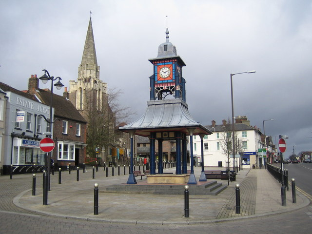 Dunstable: The Clock Tower & Market Cross. The Clock Tower and Market Cross is located in The Square