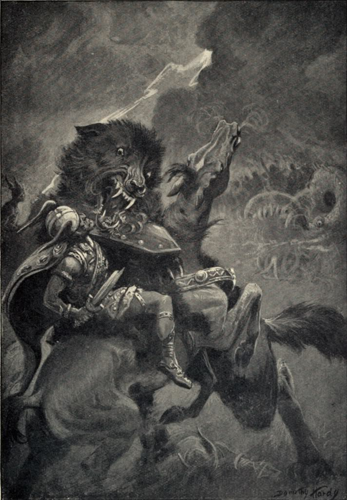 Fenrir the wolf fights Odin