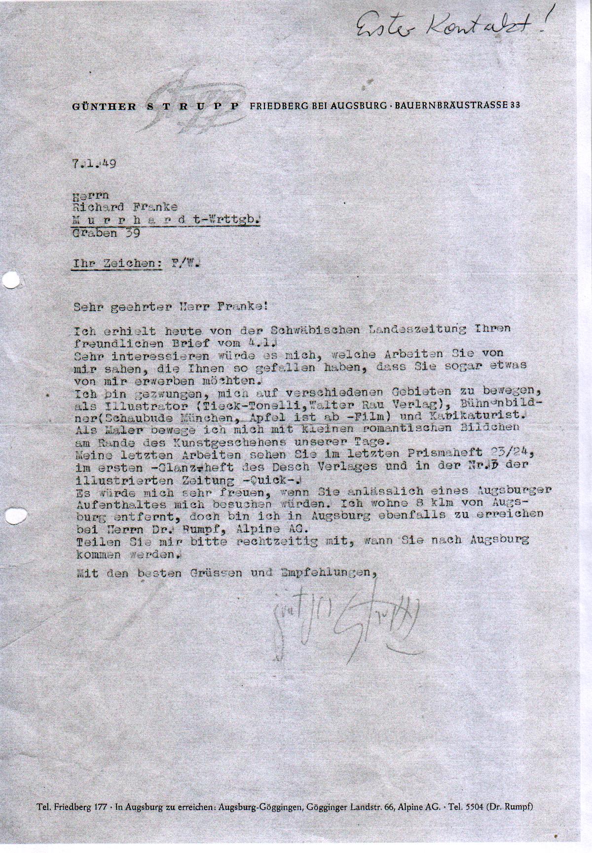 File:Günther Strupp, Antwortschreiben an den Rauchwarenhändler ...