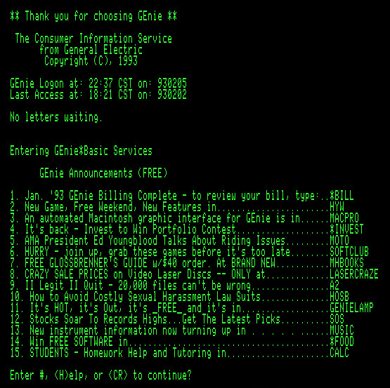 GEnie log-in screen from February 1993, as it would have appeared on an Apple IIe