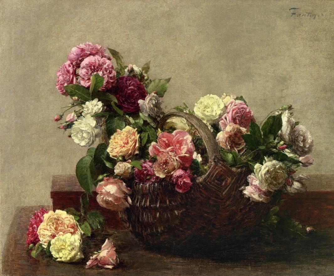 Basket Of Roses Birthday Cake
