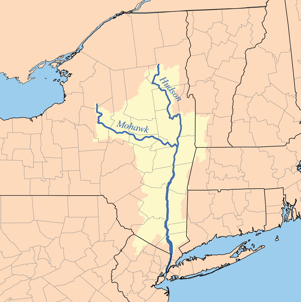 Hudson River watershed map showing the Mohawk River
