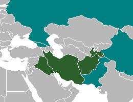 Dark green: countries where Iranian languages are official.Teal: regional co-official/de facto status.