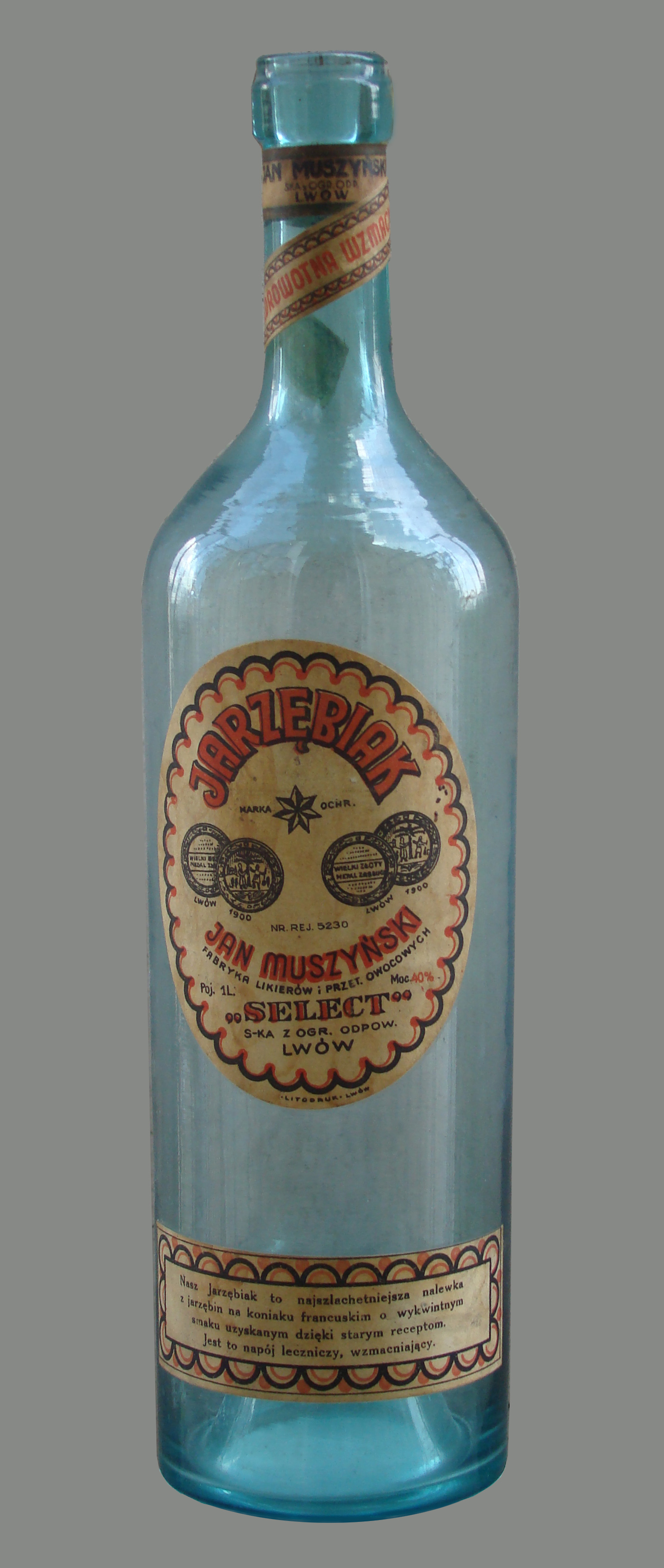 Empty bottle of Polish rowan-berry vodka made by Jan Muszynski factory 1939