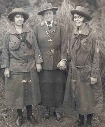Two Girl Scouts with Juliette Gordon Low