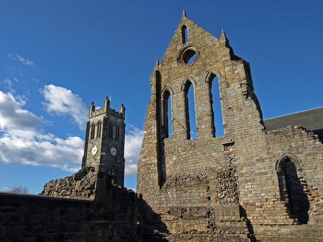 Kilwinning Abbey Viewed from the south showing the ruins and the clock tower. http://www.kilwinning.org/abbey