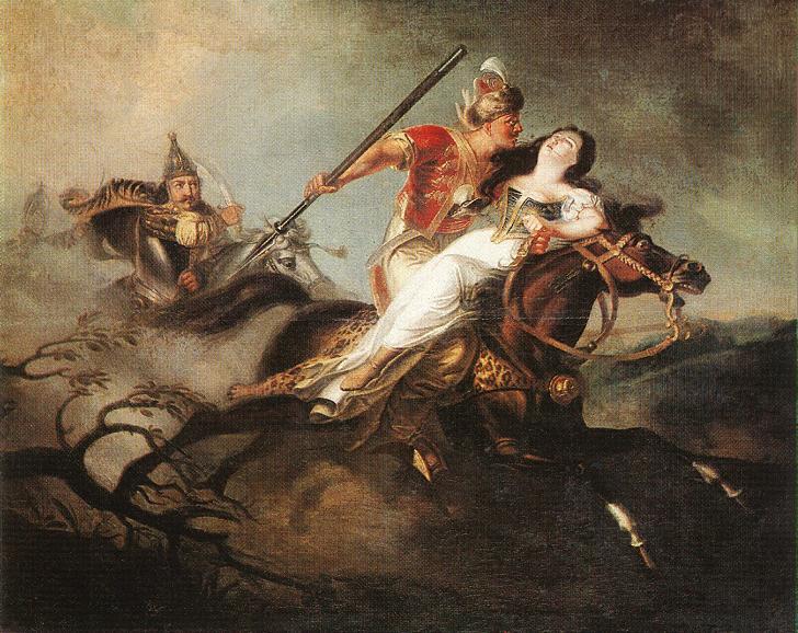 Károly Kisfaludy (1788-1830): Ladislas redder en jente i slaget ved Kerlés i 1068 (1830)