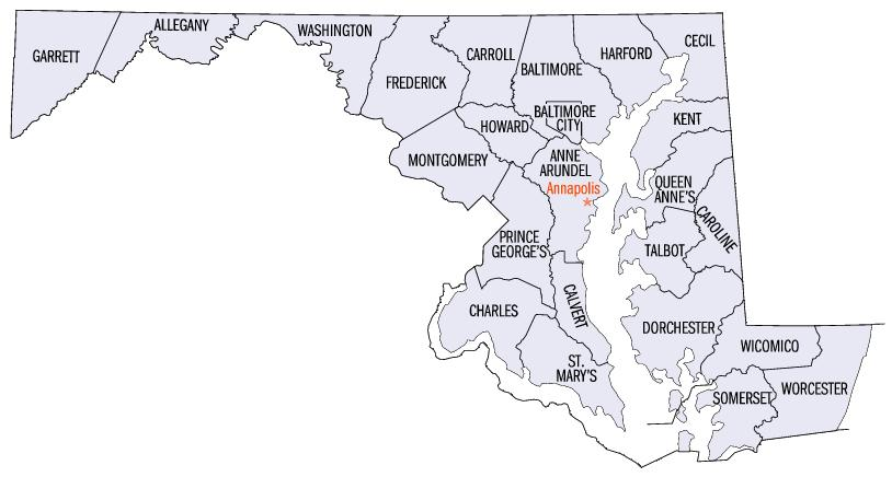 Maryland Counties Map List of counties in Maryland   Wikipedia Maryland Counties Map