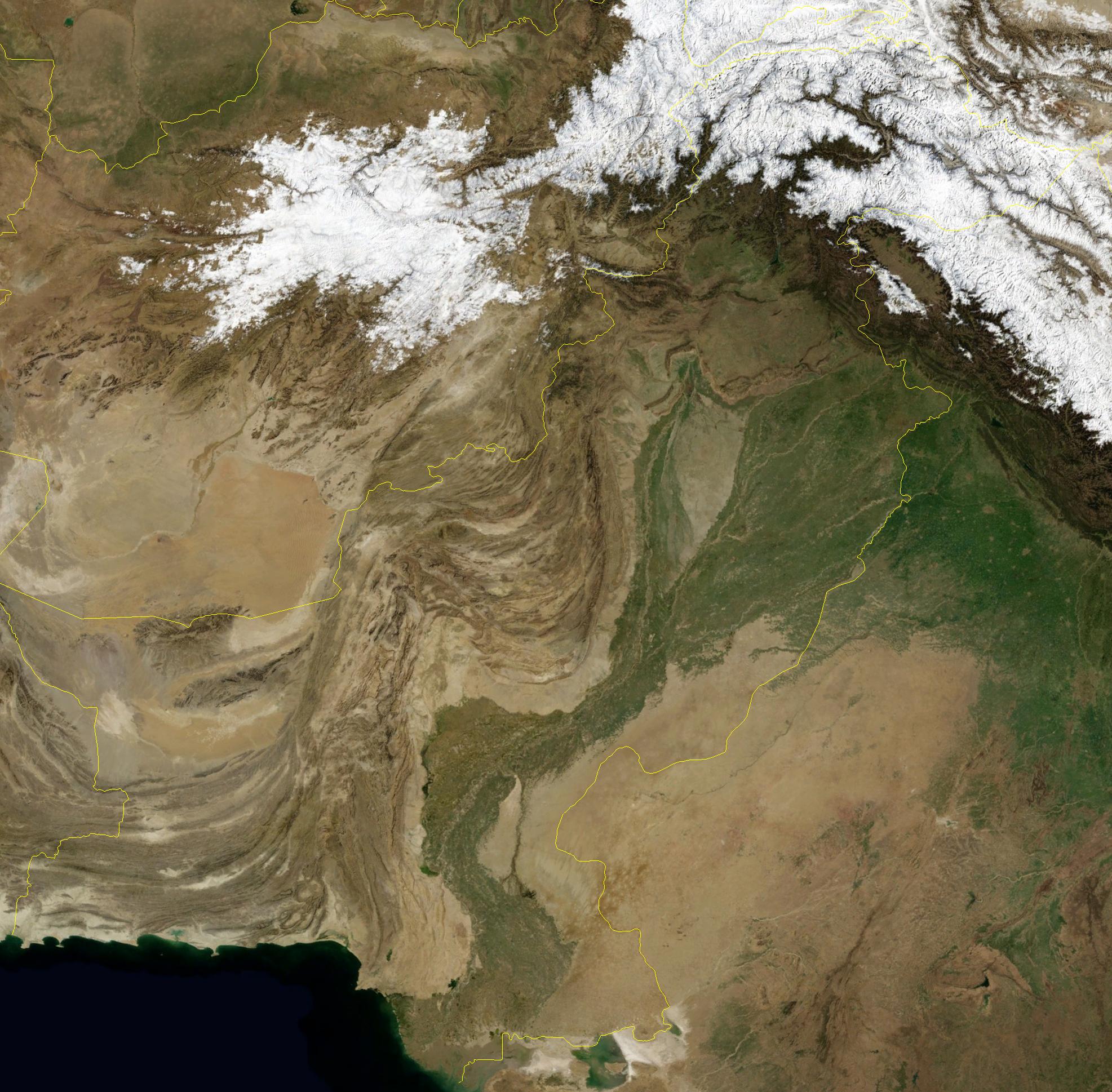 Pakistan Map Through Satellite - Map through satellite