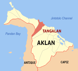 Map of Aklan showing the location of Tangalan