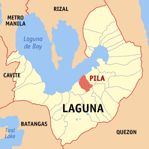 Map of Laguna showing the location of Pila