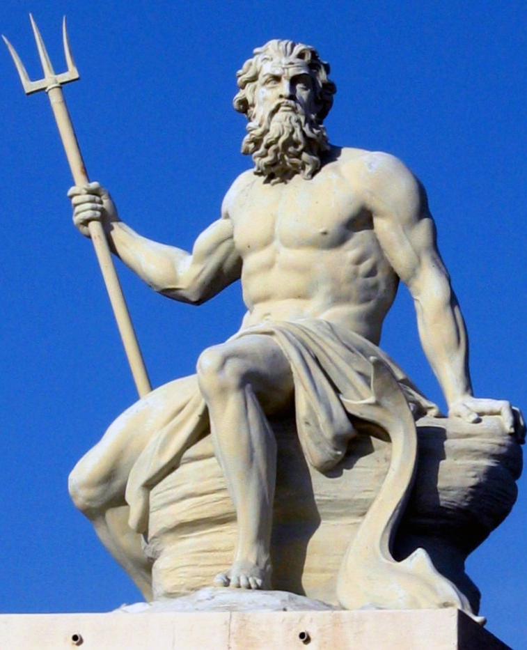 sculpture de poseidon, port de copenhague