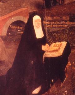 A rainha, trajando de viúva, rezando no seu magnífico Livro de Horas, por sobre a pintura flamenga Panorama de Jerusalém, oferecida por seu primo o imperador Maximiliano I