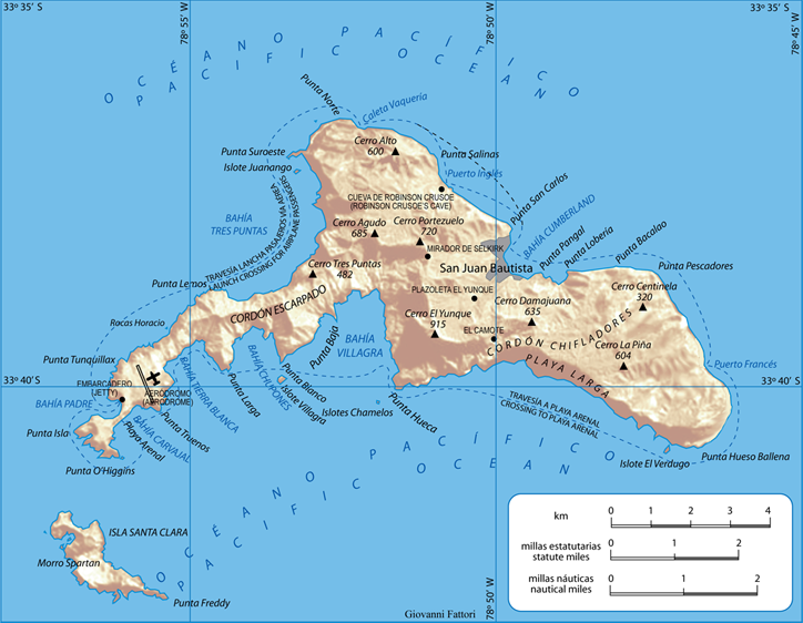 Map of the Juan Fernández Islands, where Selkirk lived as a castaway