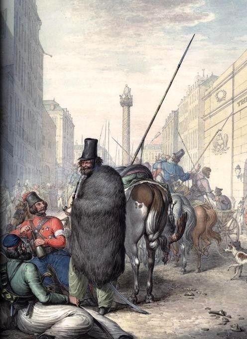 Russian cossacks in Paris streets in 1814.