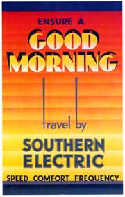 1933 poster for the Southern Railway's newly electrified suburban services