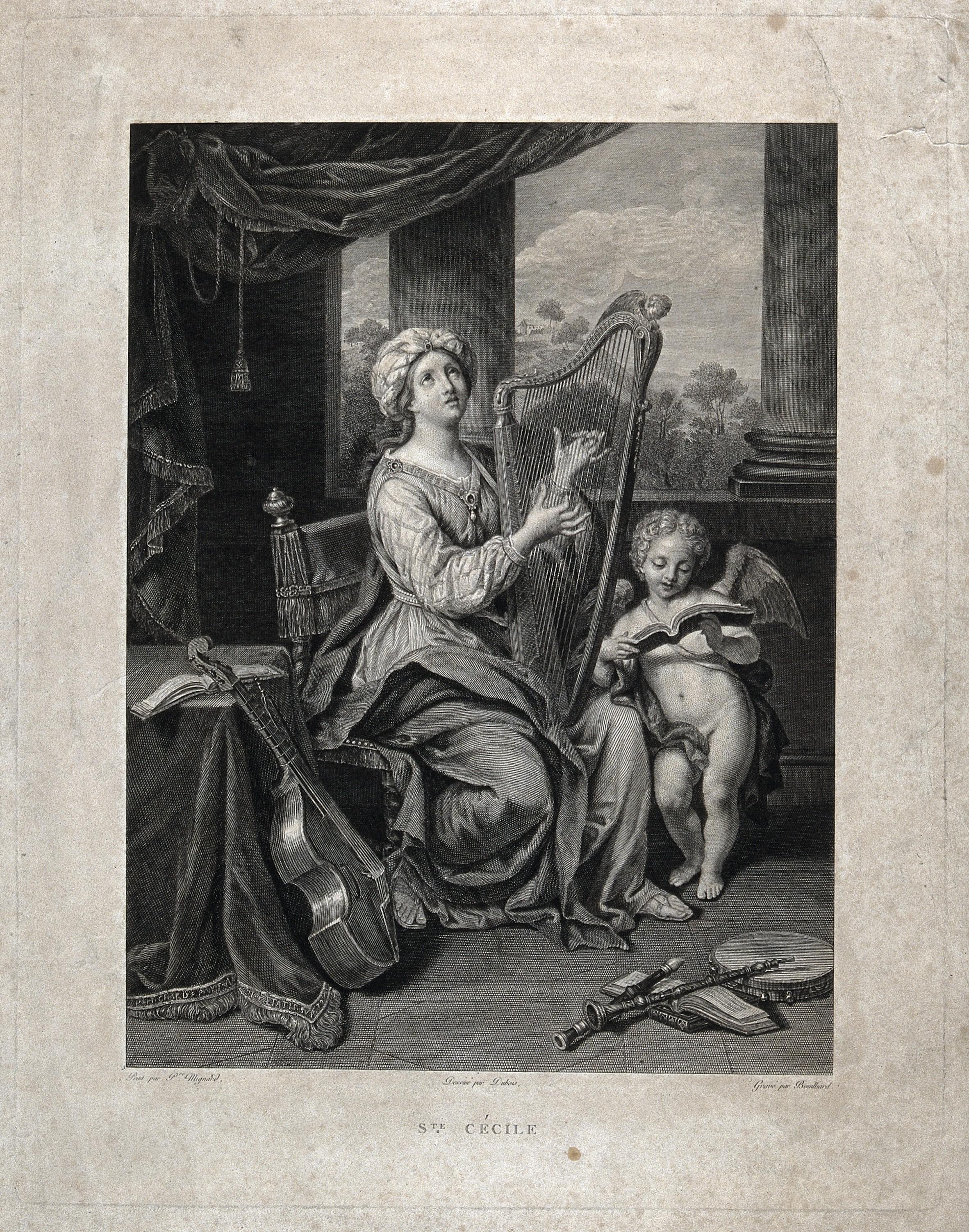 File:Saint Cecilia  Engraving by J  Bouillard after Dubois after