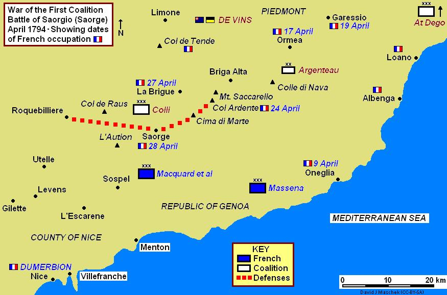 This map shows the Battle of Saorgio campaign in April 1794. The progress of the French offensive is displayed with flags and dates where known. While Dumerbion's main army probed at the Coalition lines, Massena's wing launched a wide right hook that outflanked the enemy defenses. Saorgio 1794 Campaign Map.jpg