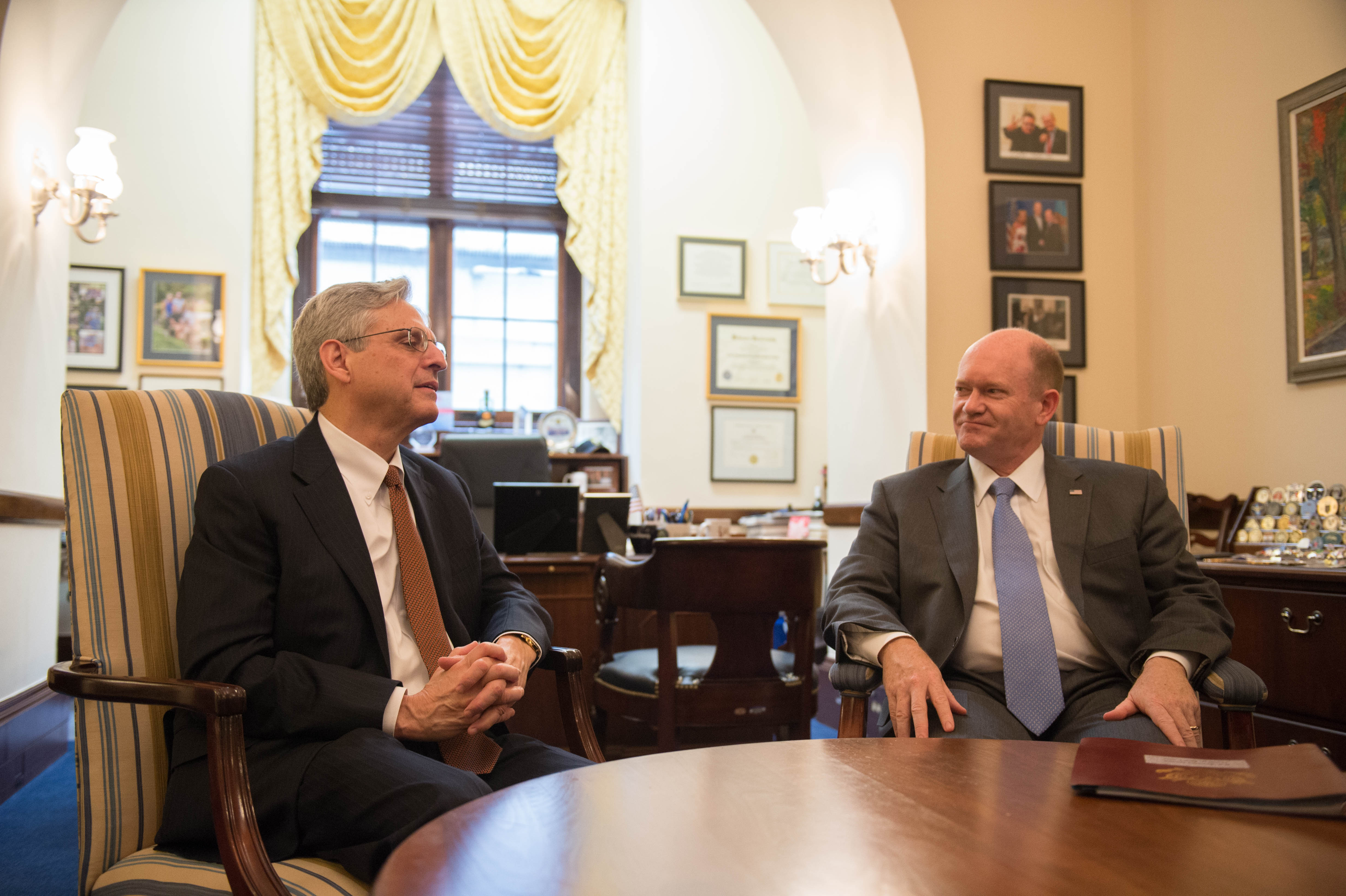 File:Senator Coons Meets With Judge Garland (26269147826)