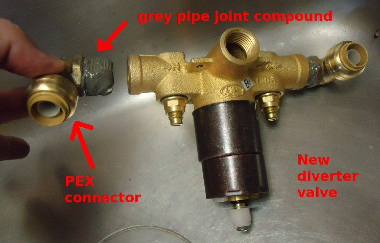 File:Shower Project New Diverter Valve With Connector About To Be Added