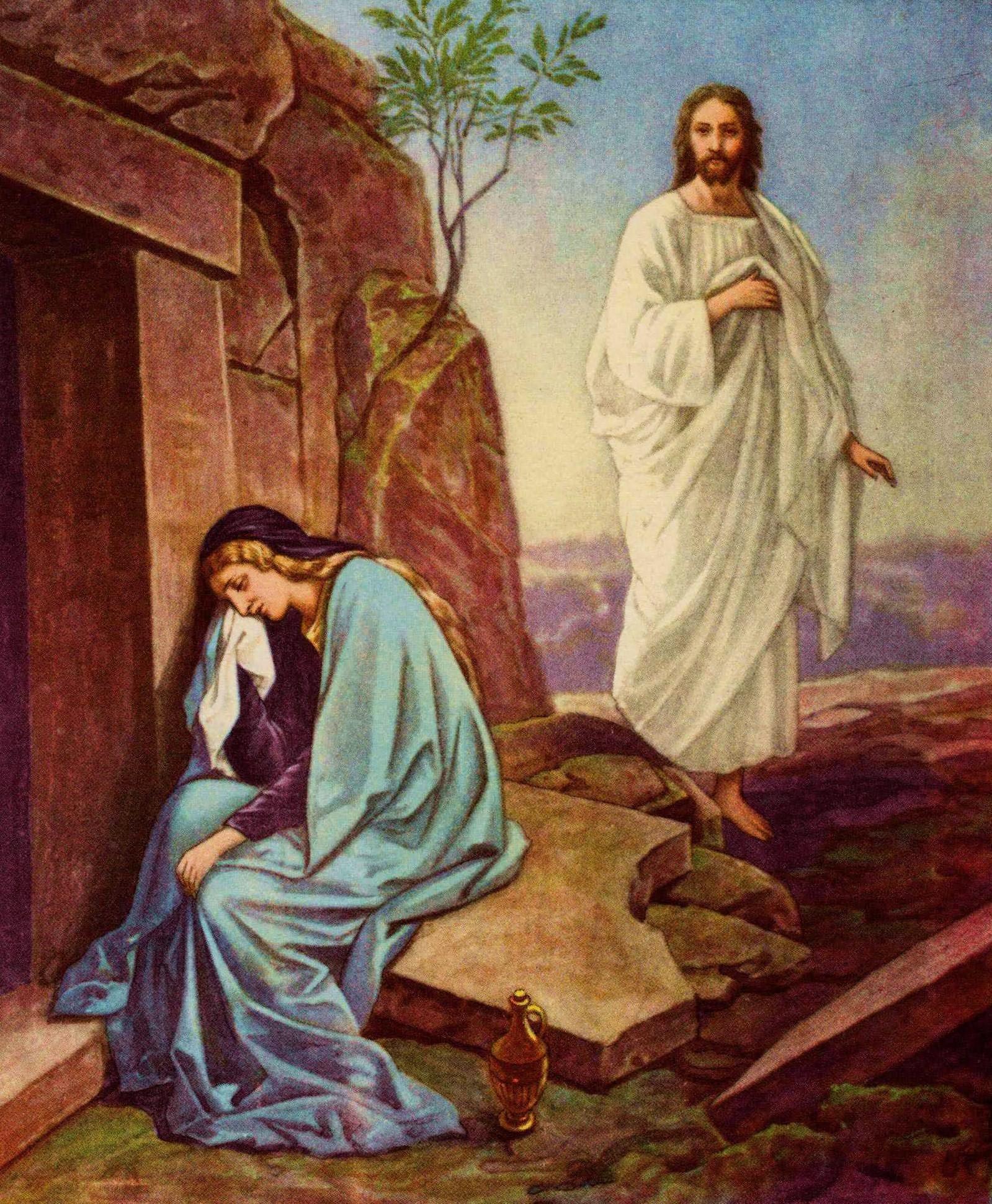 Peinture représentant Marie de Magdala et la résurrection de Jésus-Christ.