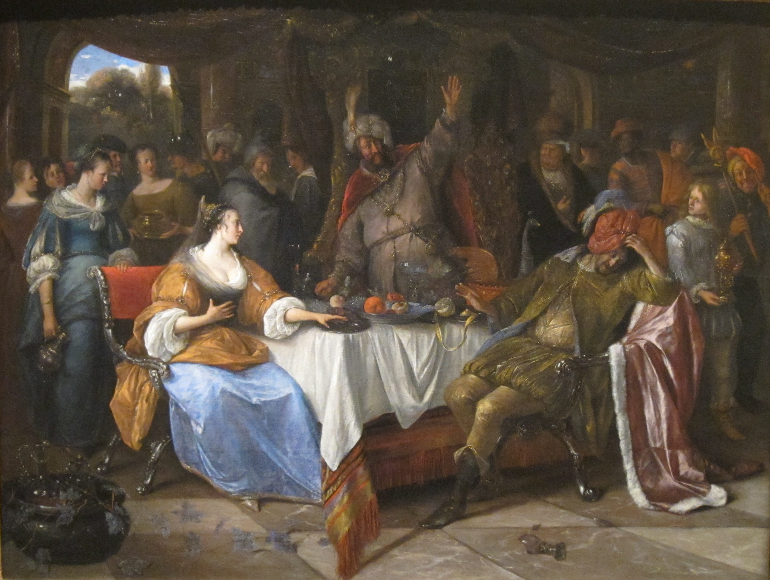 File:'Esther, Ahasuerus, and Haman', oil on canvas painting by Jan Steen,  c. 1668.JPG - Wikimedia Commons