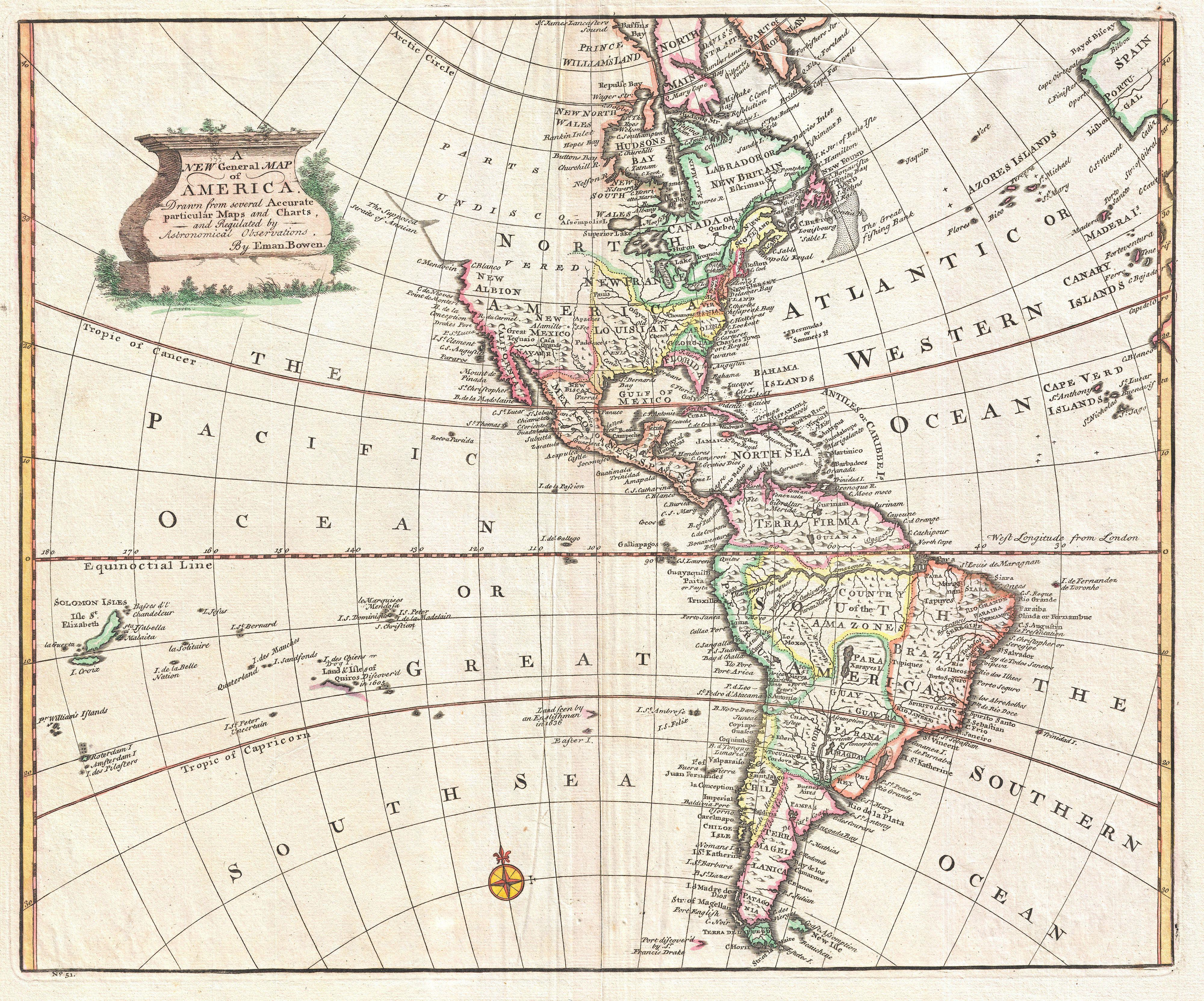 File:1747 Bowen Map Of North America And South America ( Western Hemisphere)