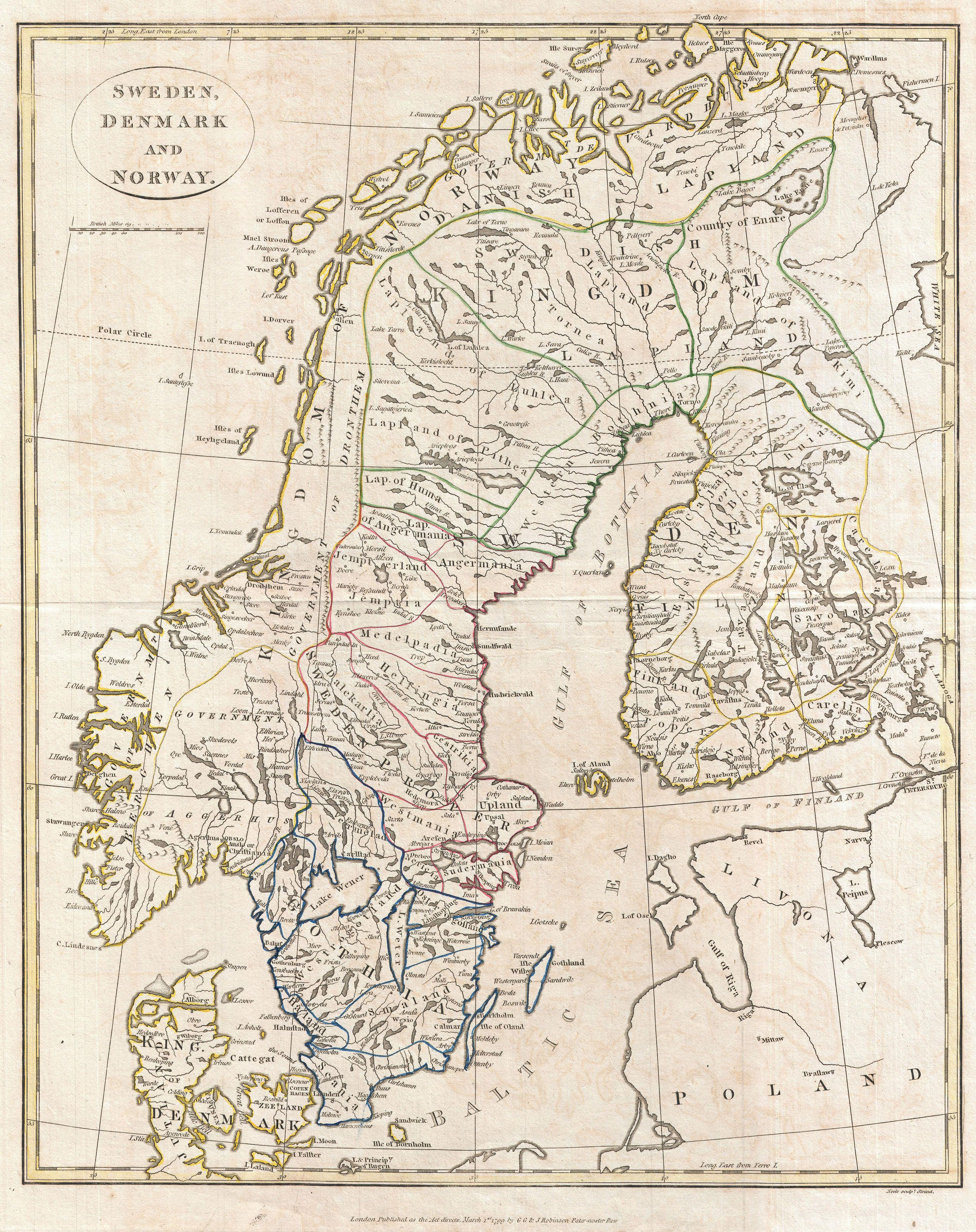 File Clement Cruttwell Map Of Sweden Denmark And Norway - Norway map in english