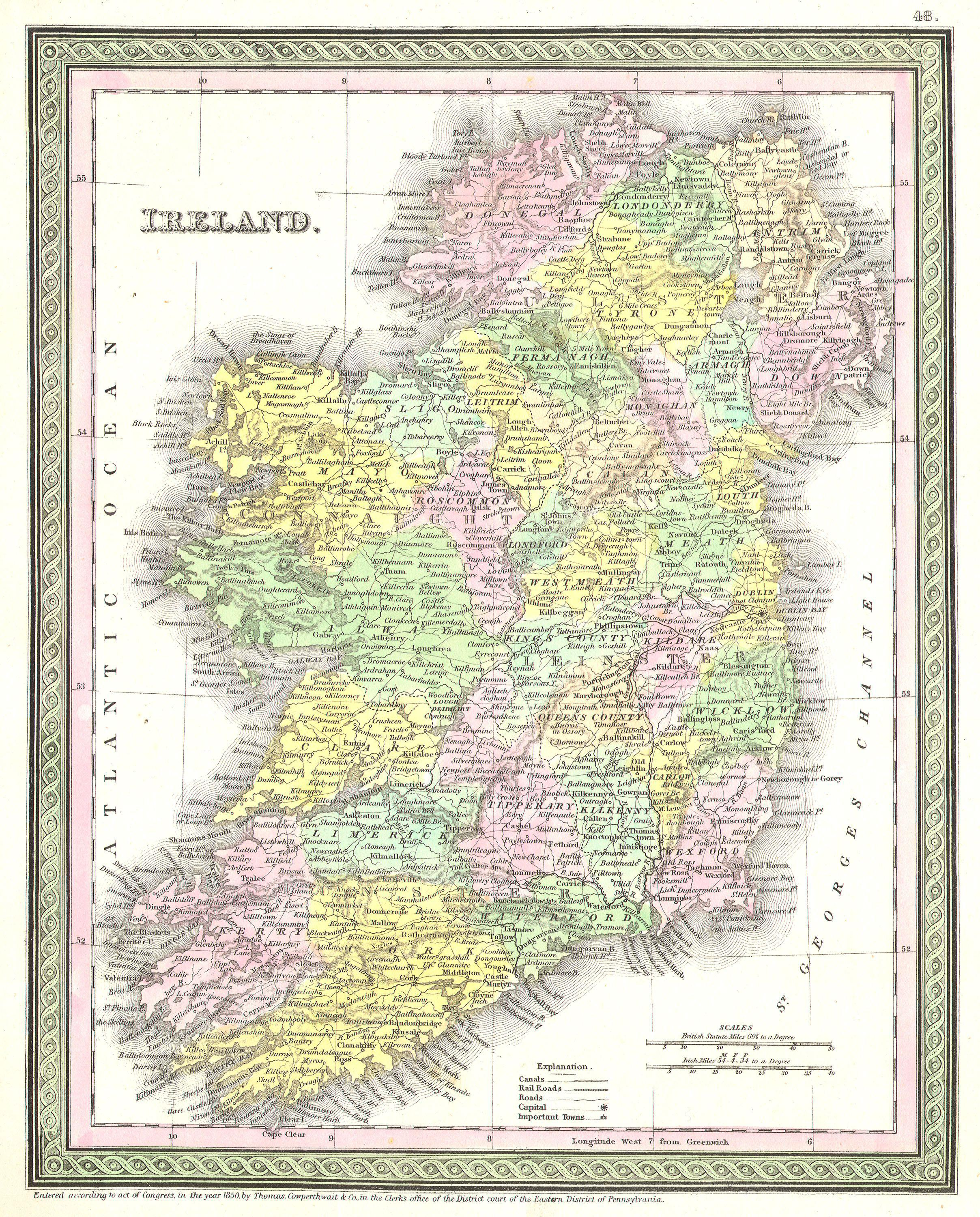600 Year Old Map Of Ireland.File 1850 Mitchell And Cowperthwait Map Of Ireland