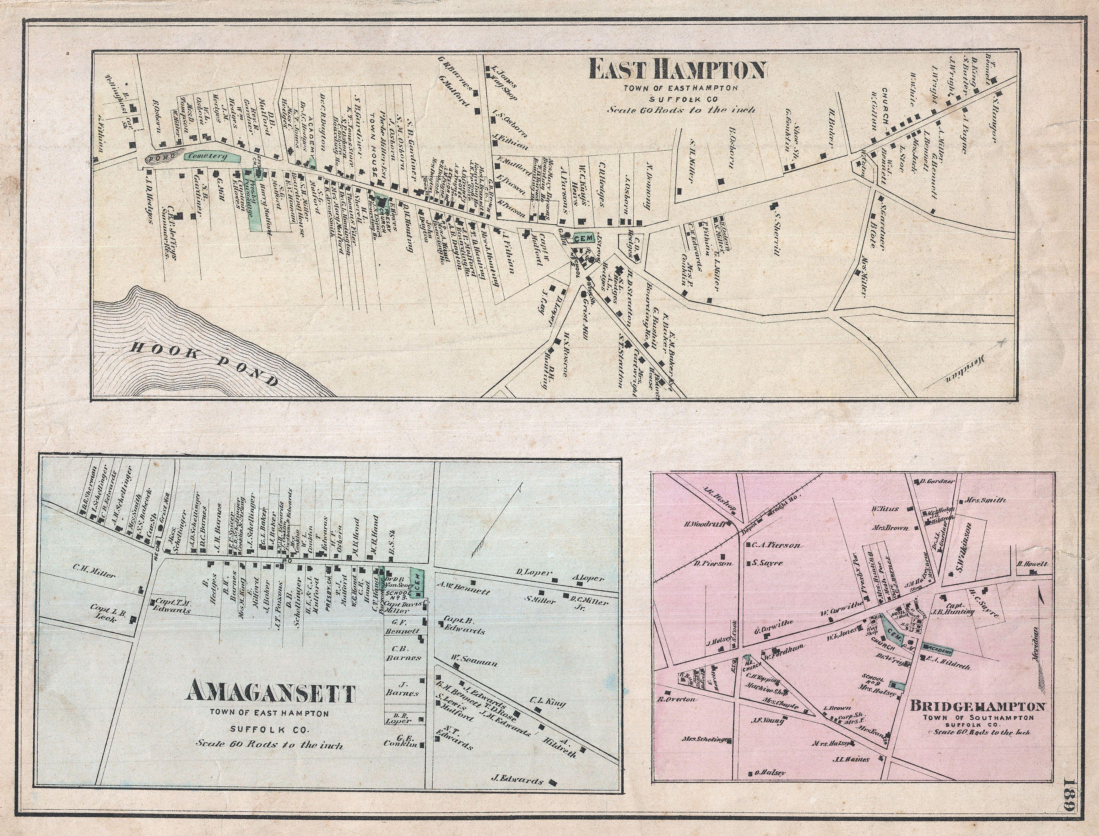 File1873 Beers Map of East Hampton Bridgehampton and Amagansett