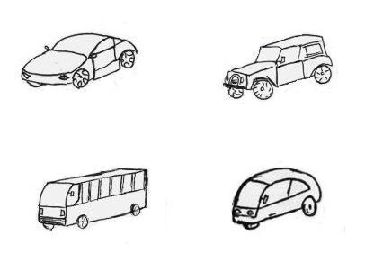 Four different objects but all are cars