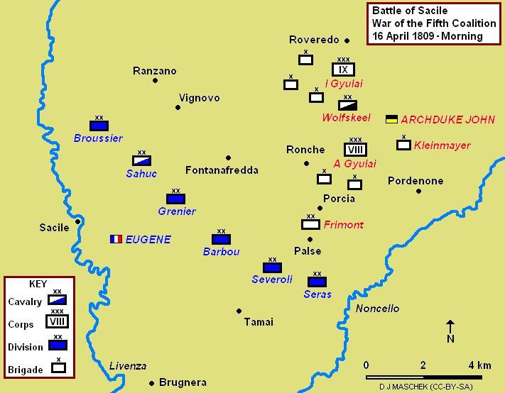 Battle of Sacile, showing morning positions. Eugene was unaware of the presence of the IX Armeekorps. Battle of Sacile 1809 Map.JPG
