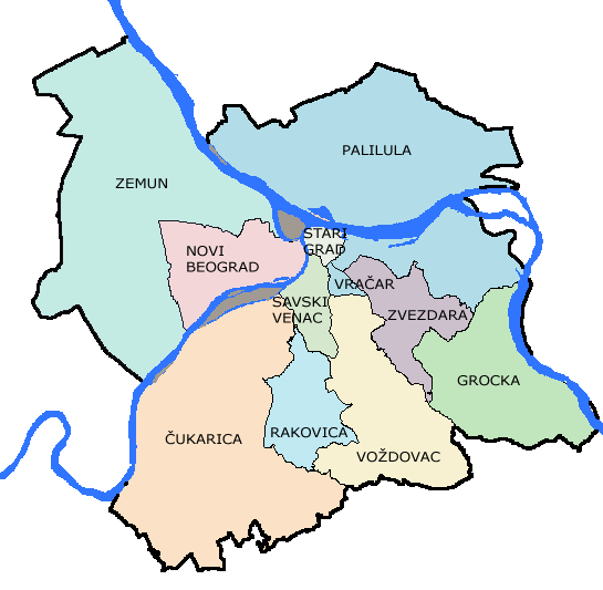 beoland mapa beograda File:Belgrade Districts Lat.png   Wikimedia Commons beoland mapa beograda