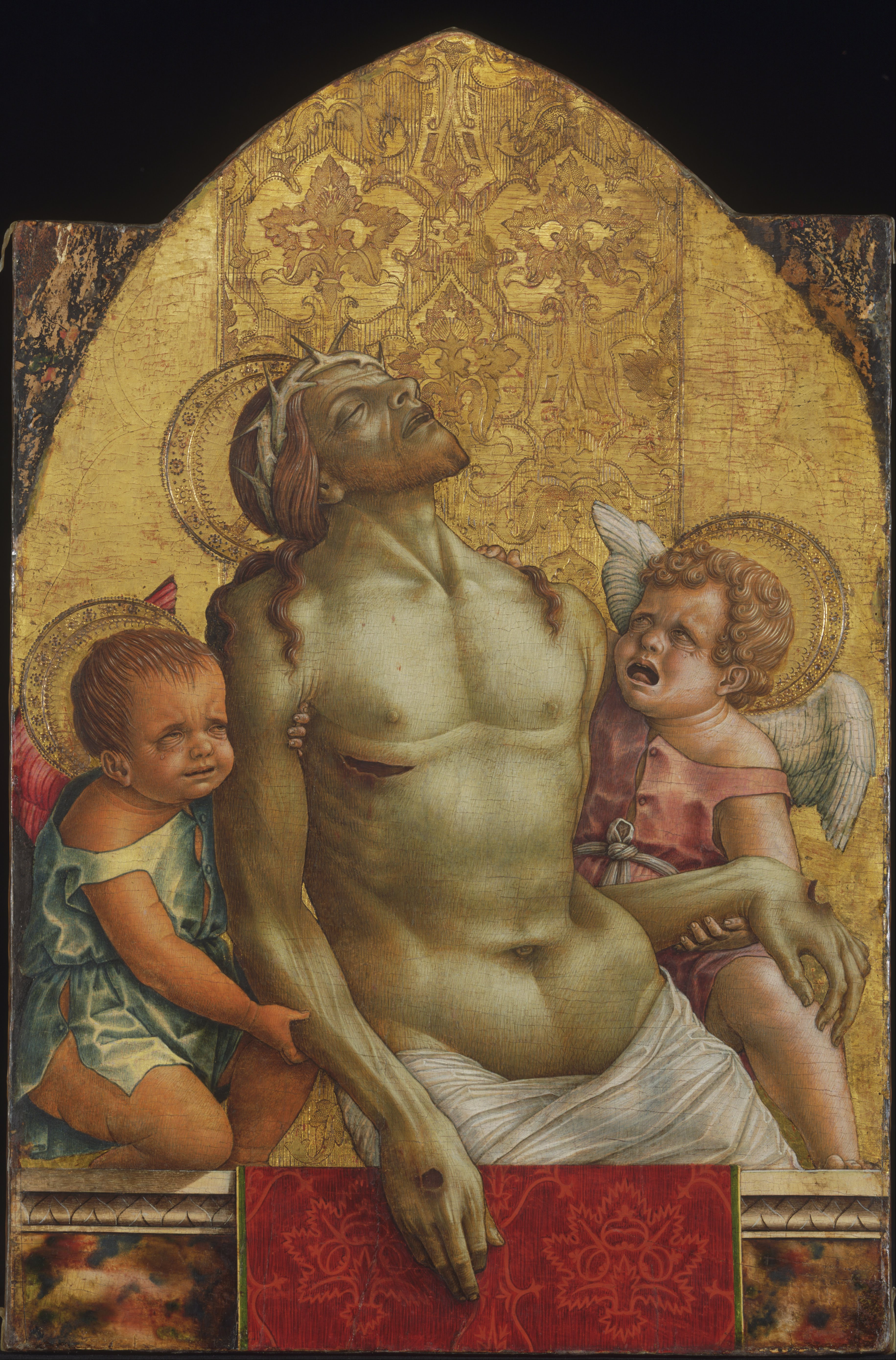 the dead christ supported by two From the national gallery, london, carlo crivelli, the dead christ supported by two angels (about 1470-5), tempera on poplar, 724 × 552 cm.
