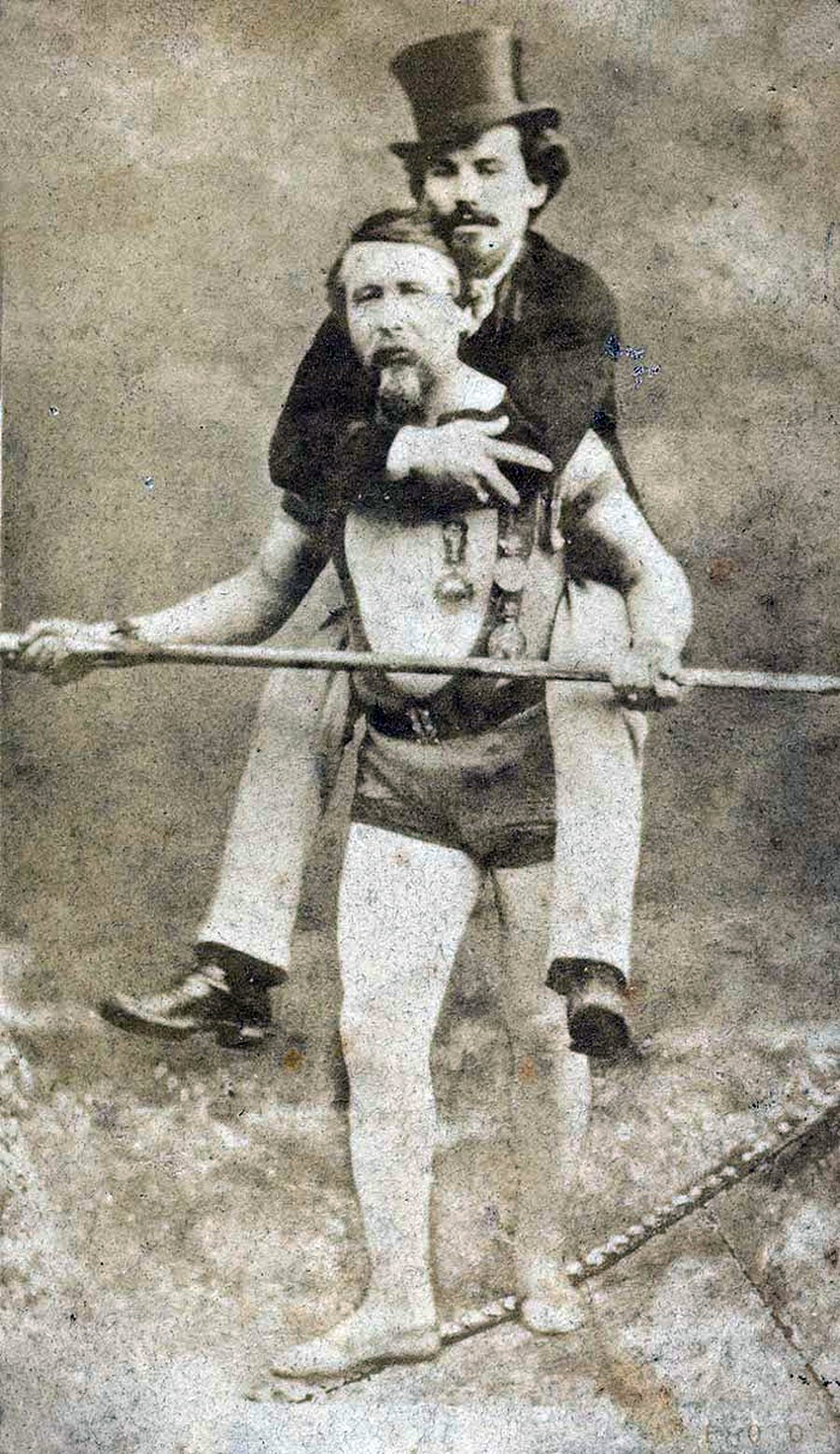 Blondin carrying his manager, Harry Colcord, on a tightrope Charles.Blondin.jpg