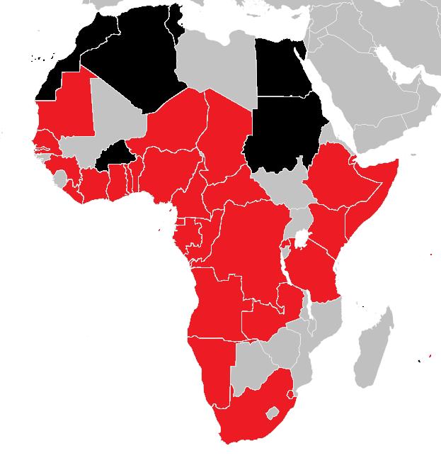 Covid19 en Afrique, carte visualisant les pays touchés par l'épidémie.