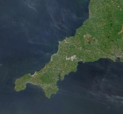 Satellite image of Cornwall