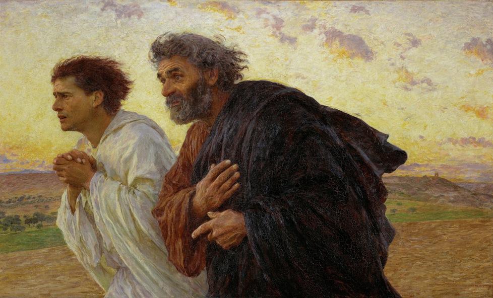 부활의 아침에 무덤으로 달려가는 제자 베드로와 요한 (외젠 뷔르낭, 1898년)