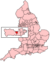 Reading shown within England